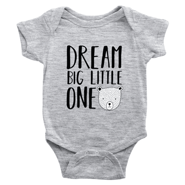teelaunch Bodysuit Baby Onesie / Heather Grey / NB Dream Big Bear Bodysuit