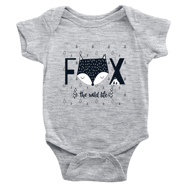 teelaunch bodysuit Baby Onesie / Heather Grey / NB Fox Wild Life Bodysuit