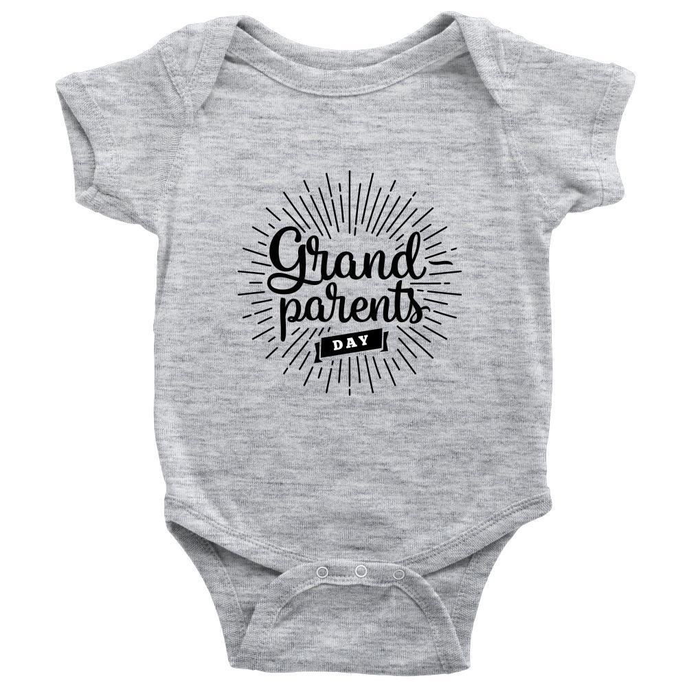 teelaunch Bodysuit Baby Onesie / Heather Grey / NB Grandparents Day Bodysuit (black writing)