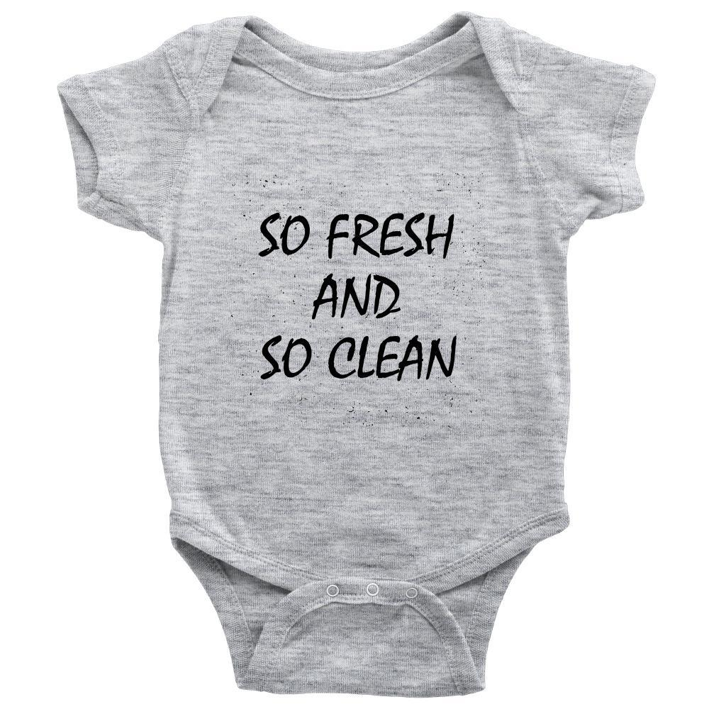 teelaunch Bodysuit Baby Onesie / Heather Grey / NB So Fresh and Clean Bodysuit