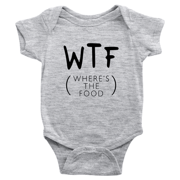 teelaunch Bodysuit Baby Onesie / Heather Grey / NB Where's The Food Bodysuit