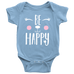 teelaunch bodysuit Baby Onesie / Light Blue / NB Be Happy Bodysuit
