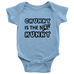 teelaunch Bodysuit Baby Onesie / Light Blue / NB Chunky Is The New Hunky black Bodysuit