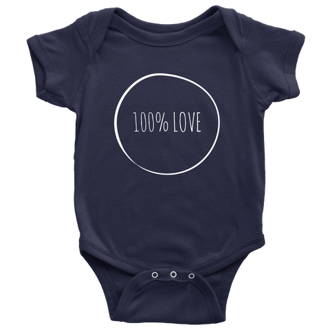 teelaunch Bodysuit Baby Onesie / Navy / NB 100% Love White Text Bodysuit