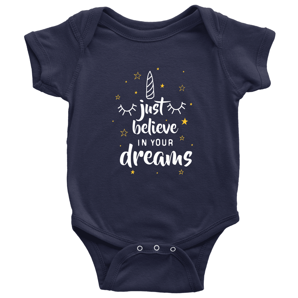 teelaunch Bodysuit Baby Onesie / Navy / NB Believe In Your Dreams White Text Bodysuit