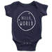 teelaunch Bodysuit Baby Onesie / Navy / NB Hello World White Bodysuit