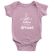 teelaunch Bodysuit Baby Onesie / Pink / NB Believe In Your Dreams White Text Bodysuit