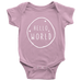 teelaunch Bodysuit Baby Onesie / Pink / NB Hello World White Bodysuit