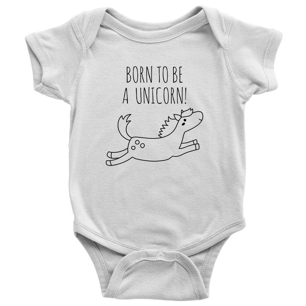 teelaunch Bodysuit Baby Onesie / White / NB Born To Be a Unicorn Bodysuit