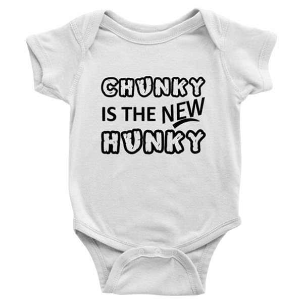 teelaunch Bodysuit Baby Onesie / White / NB Chunky Is The New Hunky black Bodysuit