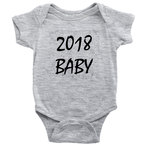 teelaunch T-shirt Baby Onesie / Heather Grey / NB 2018 Baby Black Text Bodysuit