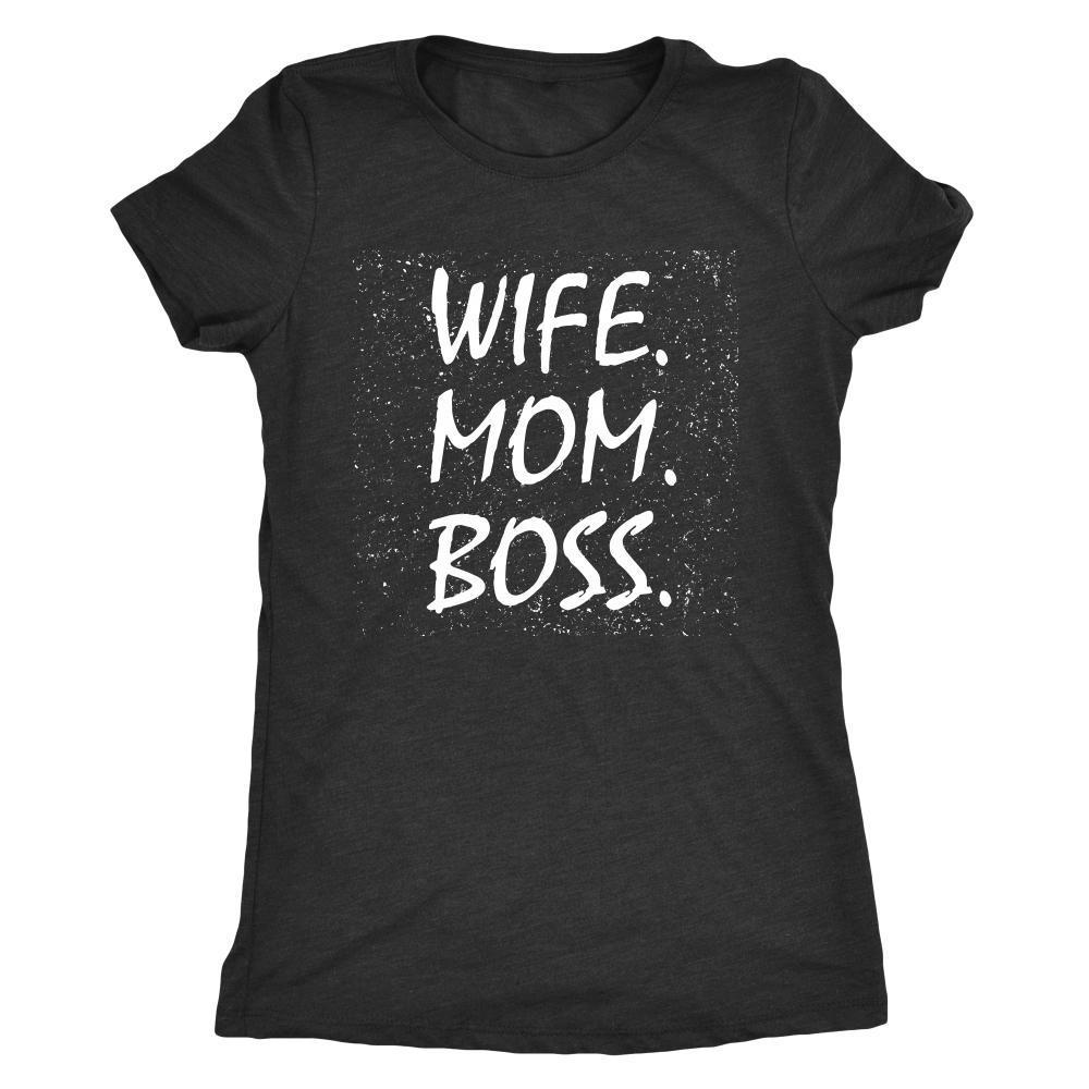 teelaunch T-shirt Next Level Ladies Triblend / Vintage Black / S Wife Mom Boss Women T-Shirt