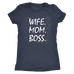 teelaunch T-shirt Next Level Ladies Triblend / Vintage Navy / S Wife Mom Boss Women T-Shirt