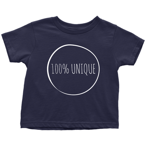 teelaunch T-shirt Toddler T-Shirt / Navy Blue / 2T 100% Unique White Text T-Shirt