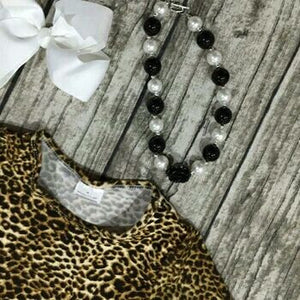 print Leopard dress boutique long sleeve with matching necklace and bow set