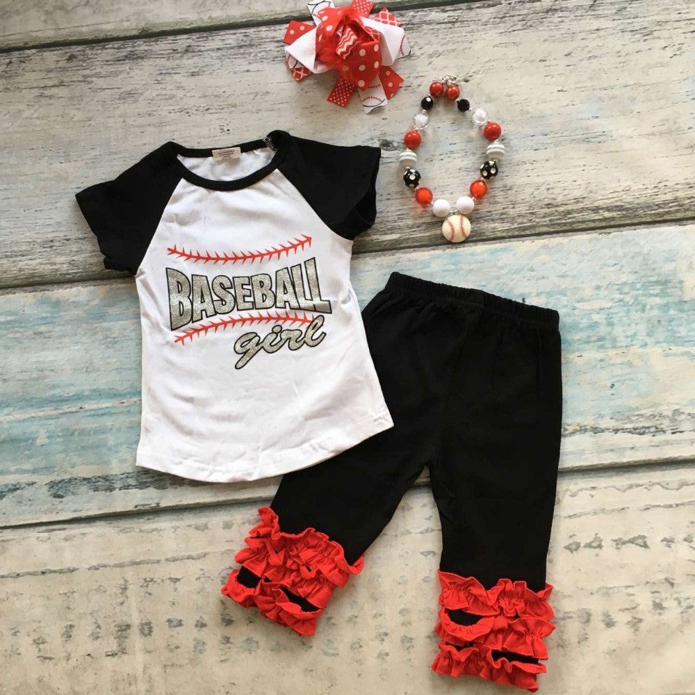 baby kids Baseball season clothes baby girls baseball girl clothing girls summer boutique baseball outfits with accessories