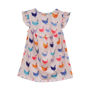Lovely Summer Style Baby Girl Dress Butterfly Sleeves Multi-color Cute Hens Printing Soft Cotton Fabric Kids Clothes E008