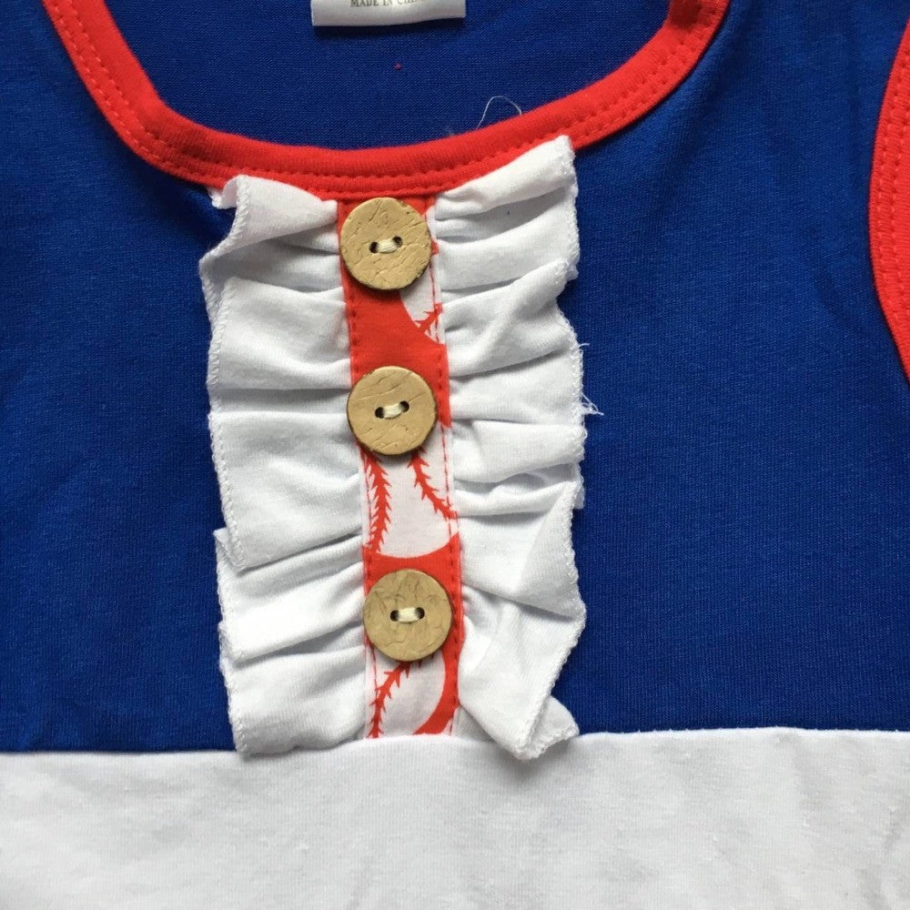 kids Baseball season clothes baby girls baseball dress girls boutique baseball party dress with necklace and clip bows