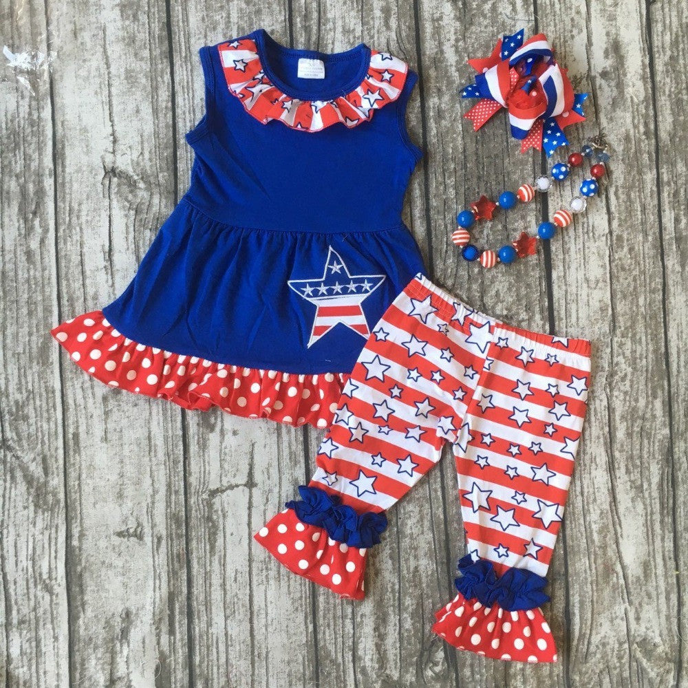baby girls summer capri clothing children July 4th Patriotic clothes girl clothes girls boutique outfits with bows and necklace
