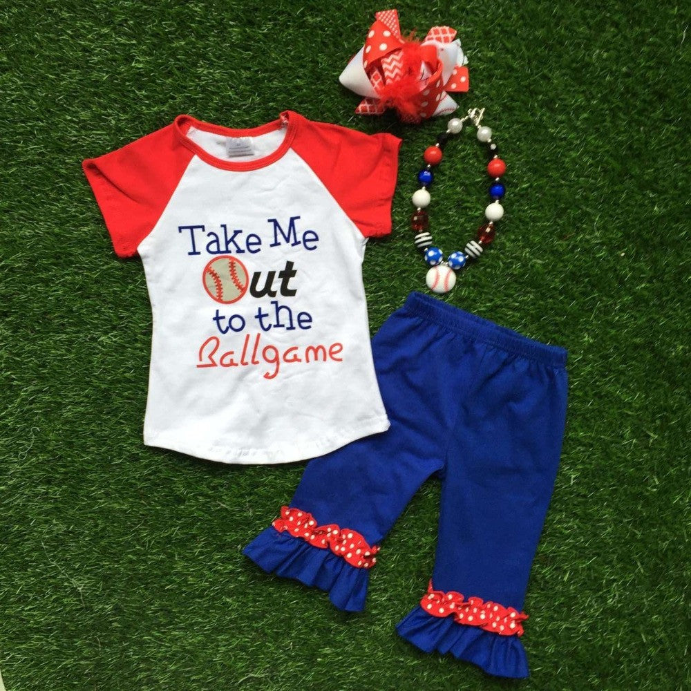 kids Baseball season clothes girls TAKE ME OUT TO HTE BALLGAME clothing girls boutique outfits with accessories