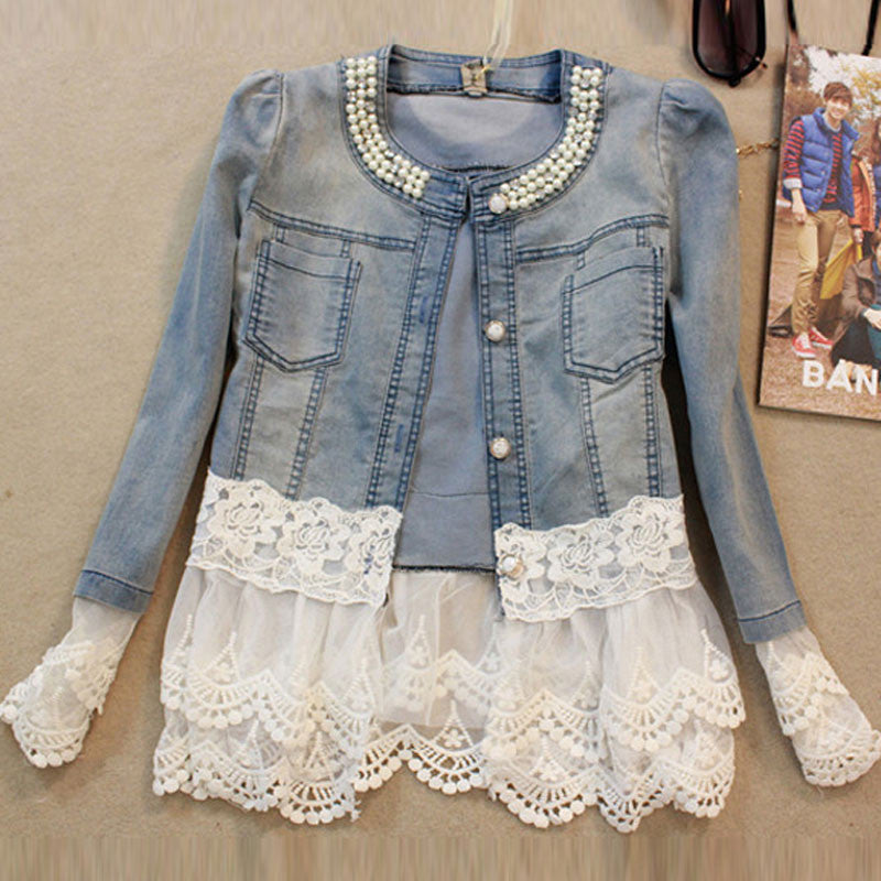 womens jeans jacket  Lace Patchwork Beading Denim Lady Elegant Vintage Jackets Coat WWJ084