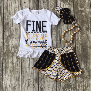 cotton summer girls boutique clothing black gold arrow plaid pocket wave dot shorts outfit  with matching necklace and bow set