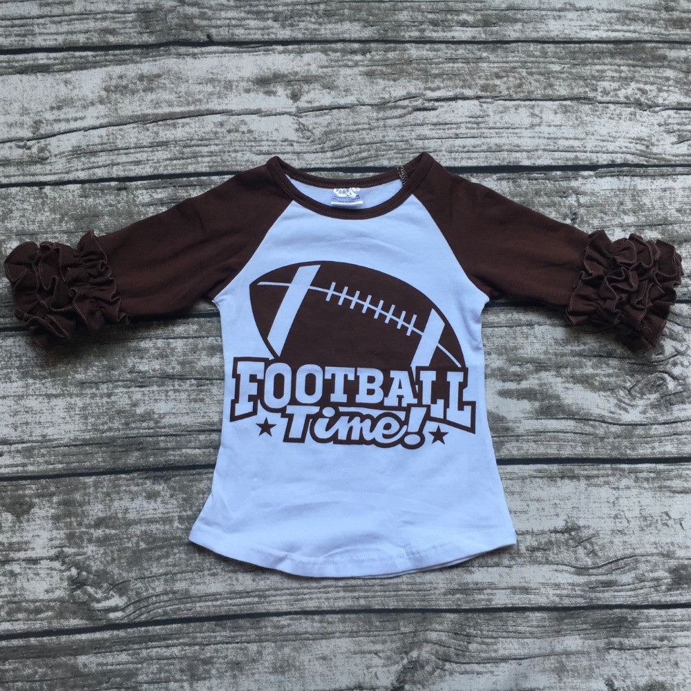 free shipping girls clothes o-neck  raglan tops girls casual tops football time tops girls Autumn top girls icing raglans tshirt
