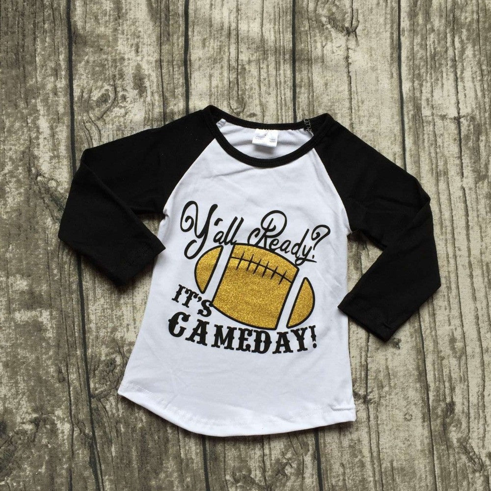 baby Fall girls full sleeve icing boutique football season  time  white black  top T-shirt  clothes ningbo baby kids wear firm