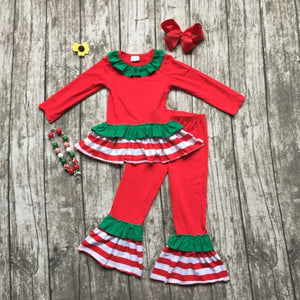 baby girls Christmas outfit girls red and Green clothing bay girls boutique party clothes with accessories