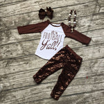 "Football clothes Fall suit baby girls brown boutique pants Sequins long sleeves""it's Football""with matching bow and necklace set"