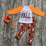 "baby girls outfits kids pant sets ""i love Fall"" outfits Maple leaves print long sleeve clothing with matching necklace and bow"