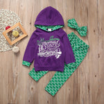 Boutique Toddler Kids Girls Clothes Set Mermaid Hoodie Tops Pants 3PCS Outfits Children Clothing Set Kids Girl Tracksuit 1-6Y