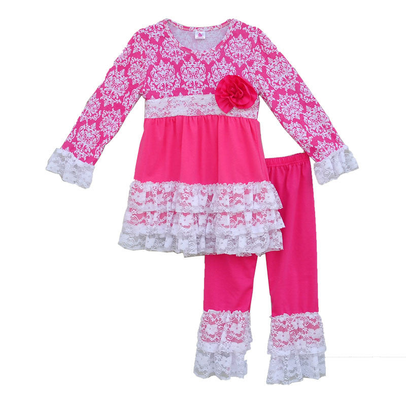 Girl Clothes Flower Decoration Printing Splice Round Neck Long Sleeve Blouse And Rose Red Pants Kid Clothing V026