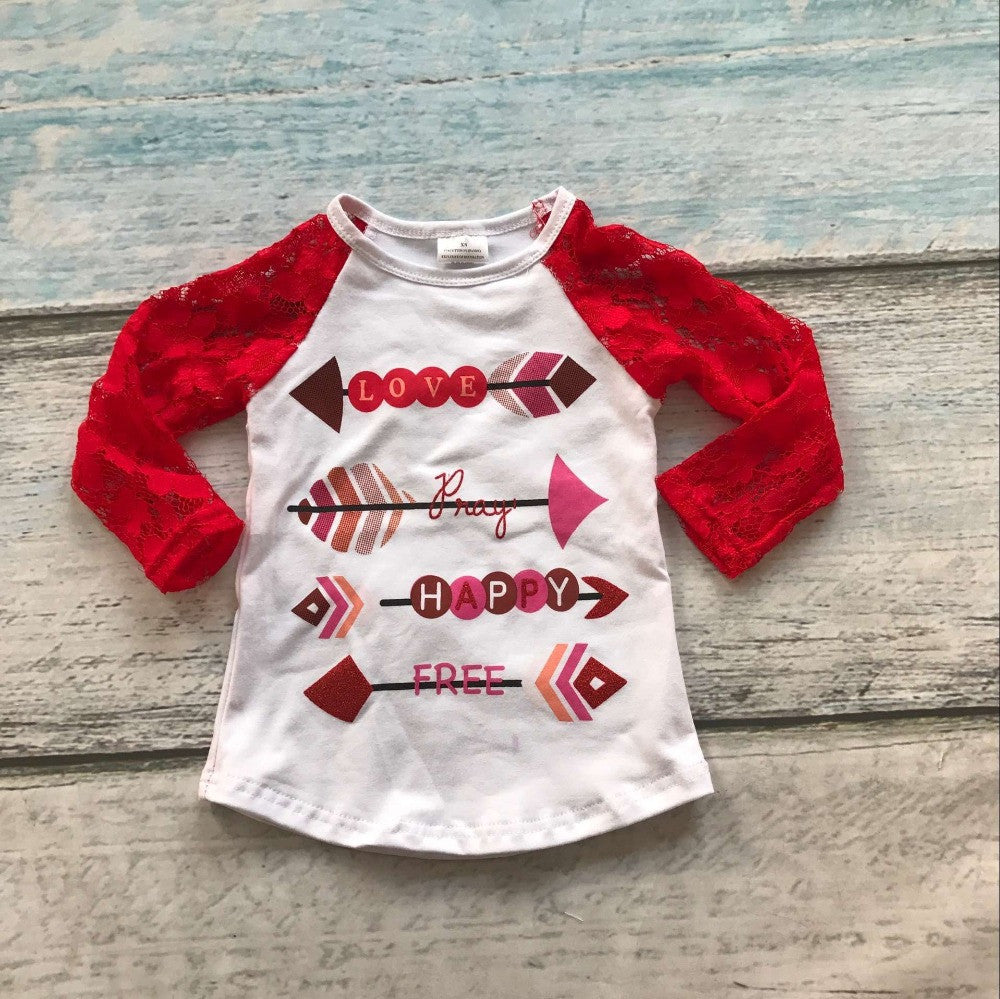 baby girls clothes raglan tops V-day raglan girls red lace sleeve raglans Autumn top girls Valentines day icing raglans tshirt