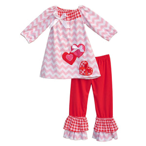 Boutique Remake Kids Clothing Sets Chevron Shirts With Love Heart Shaped Red Ruffle Pants