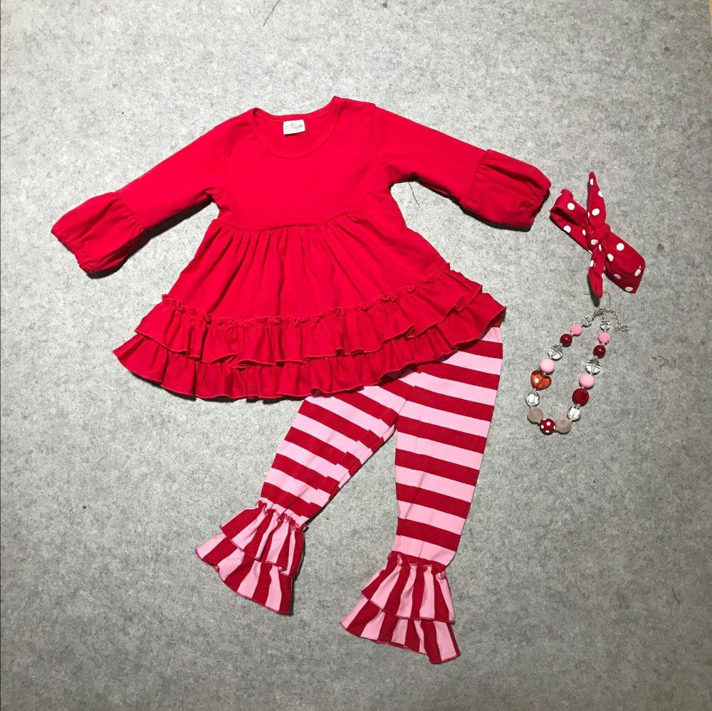 baby girls clothes girls V-day outfits children top red with stripe pant clothing Valentines day paty outfits with accessories