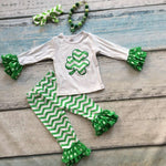 St Patrick's ruffle pant with matching necklace and headband