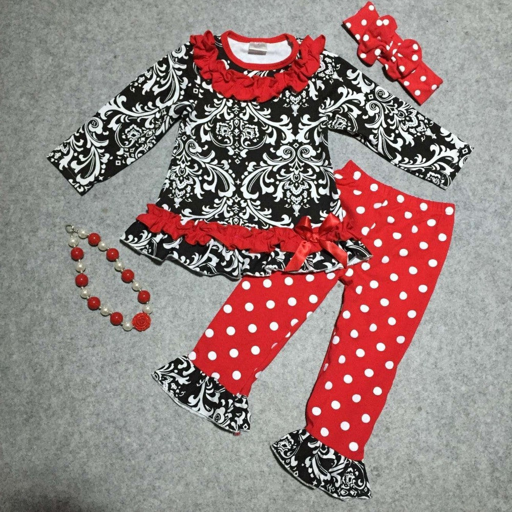 baby girls V-day clothes girls Damask Valentiens days outfits with red polka dot pant children boutique clothing with accessorei