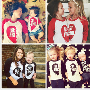 Valentine Day Clothing Long Sleeve Cotton Family Matching Outfits Spring Autumn LOVE Children T-Shirts Mommy Tops NEW!!