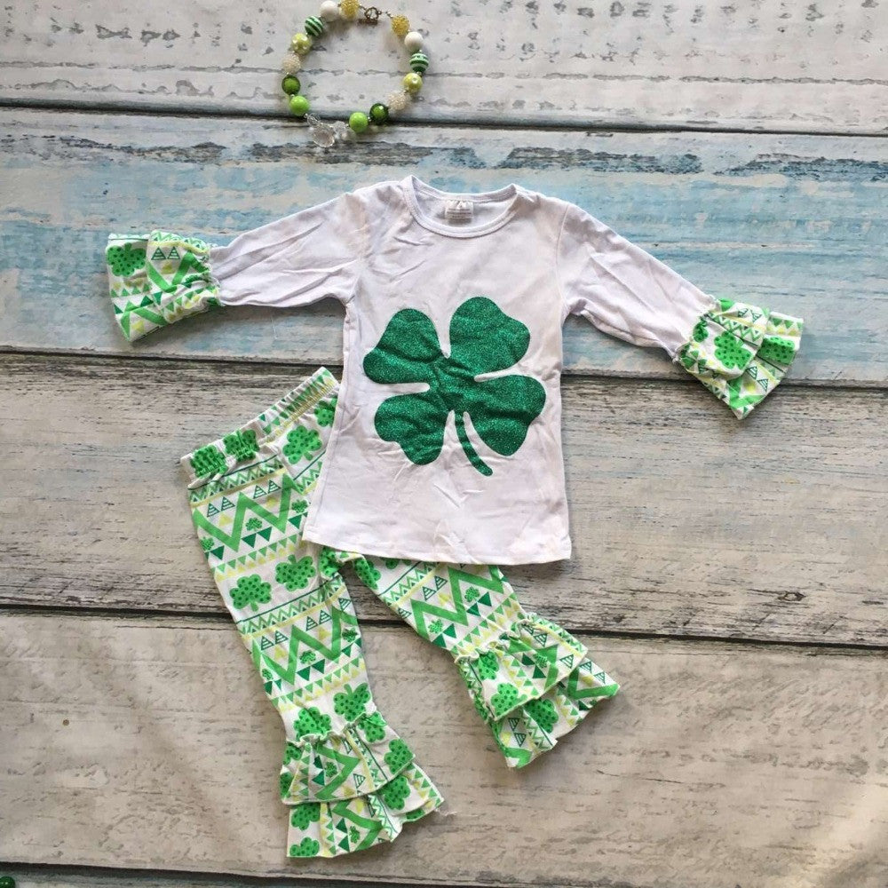 St Patrick clothing girls Shamrock outfits girls long sleeve ruffle pants sets with necklace