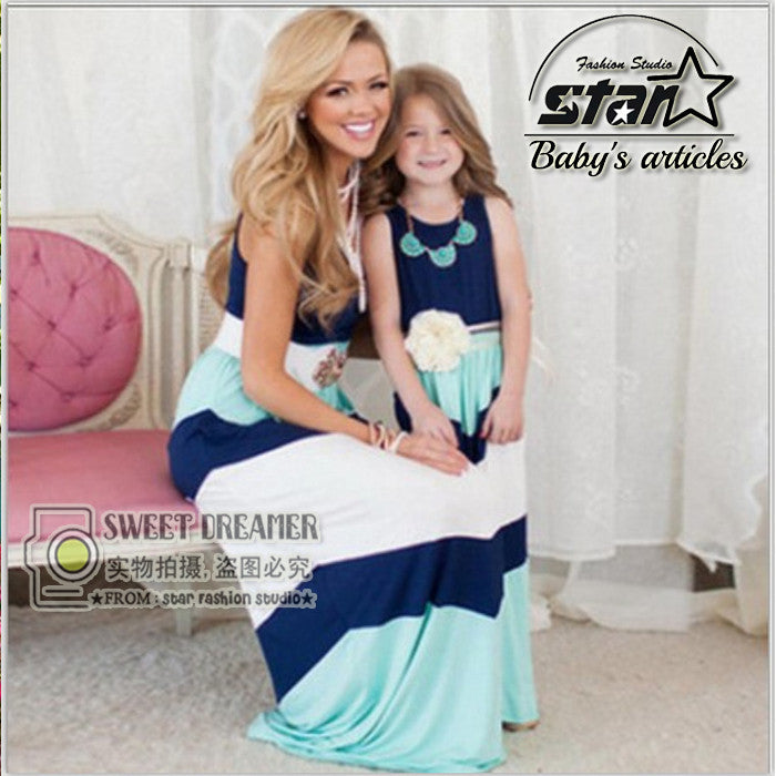 Mommy and Daughter teal and blue maxi dress