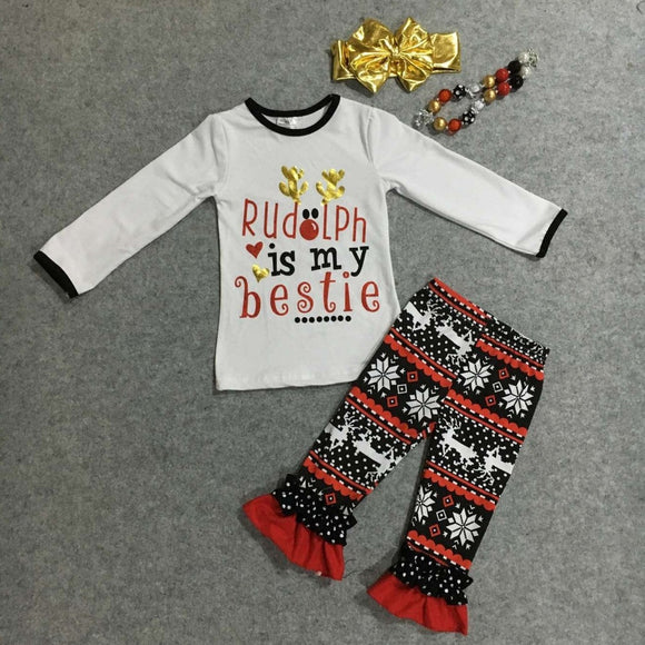 wholesale baby girls Christmas clothes children rudolph is my bestie outfits baby kidswear reindeer clothing with accessoreis