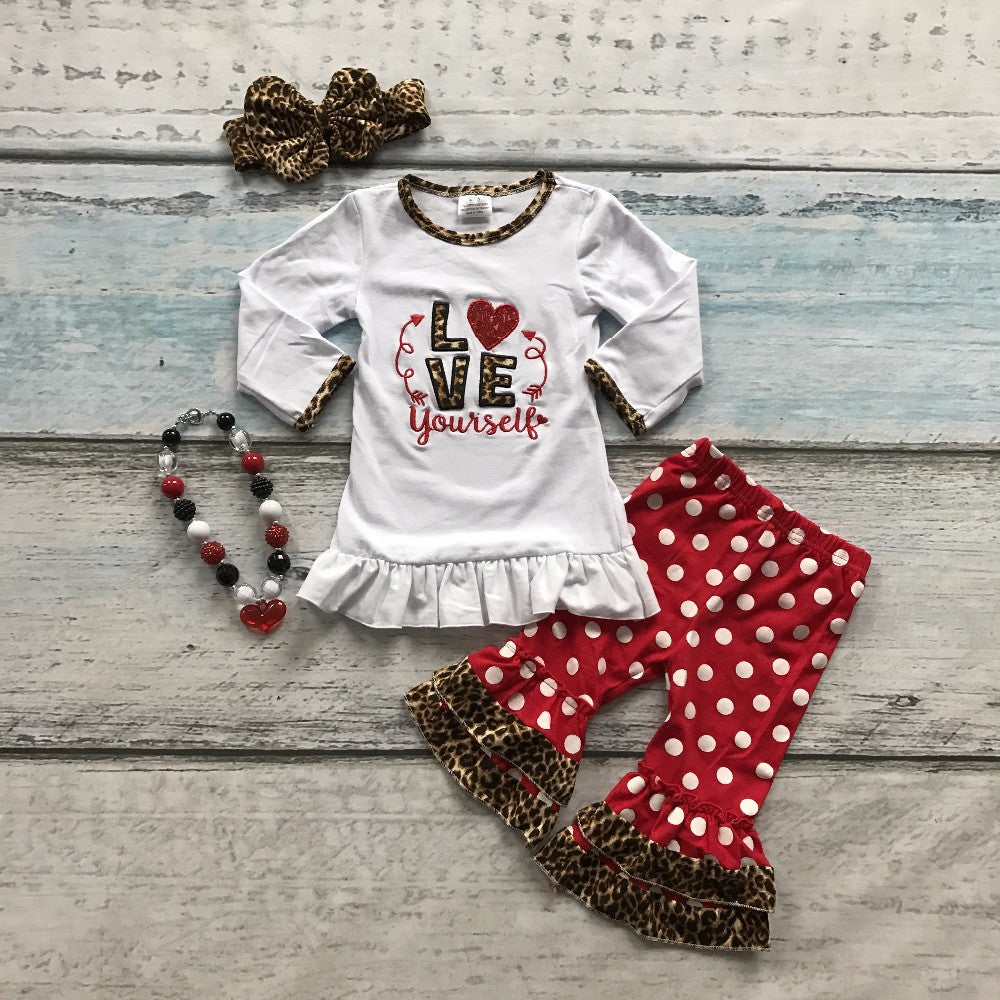baby girls V-day clothes girls LOVE yourself Valentiens days outfits with heart pant children boutique clothing with accessoreis