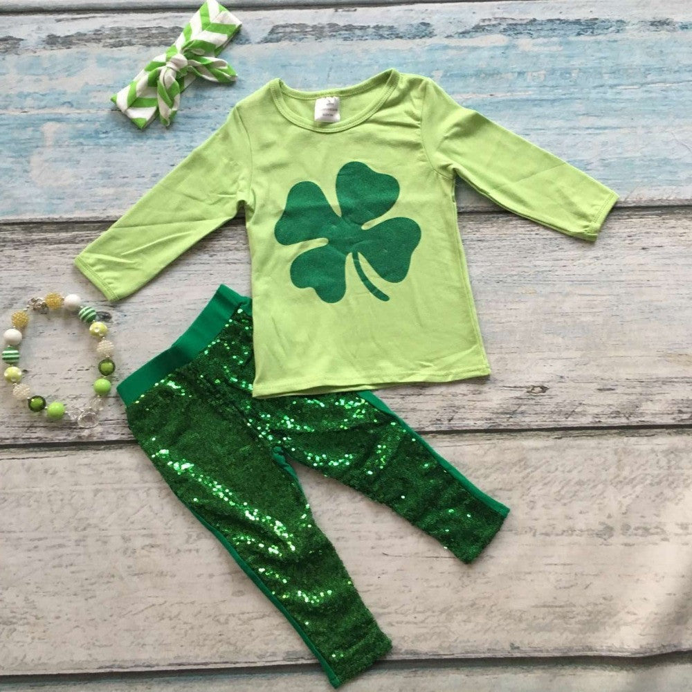 baby girls St Patrick outfits girls Shamrock top green sequins pants boutique sets long sleeve clothes with the accessories