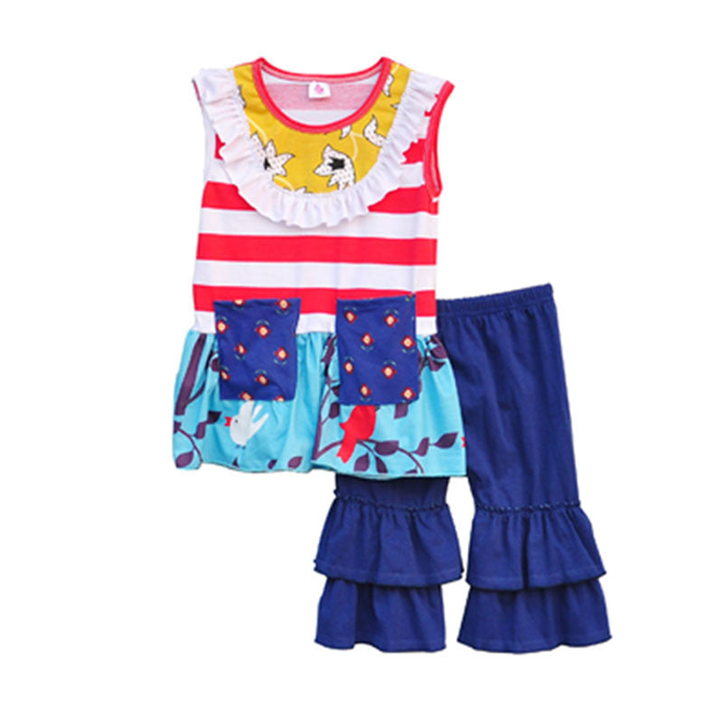 Sleeveless Striped Decorative Pockets Printing And Blue Stitching Shorts