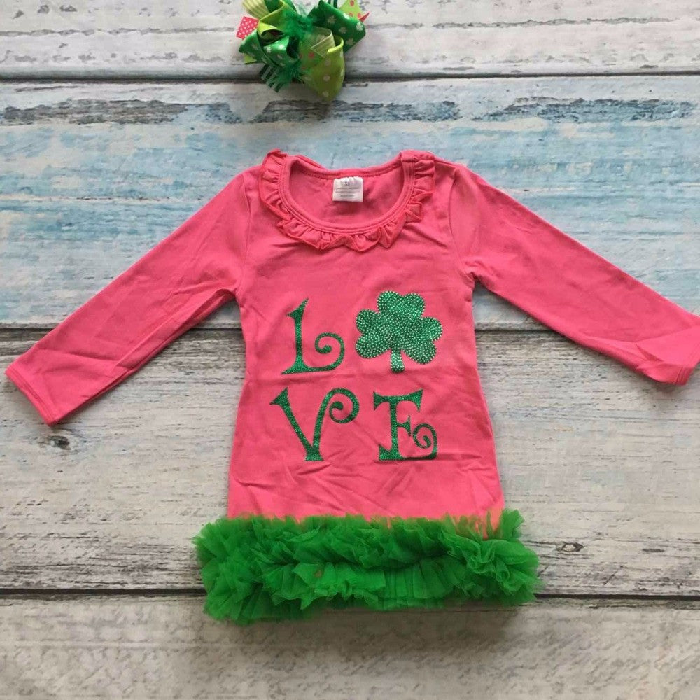 St.Patrick design 2016 girls Spring dress hot pink love  long sleeves girls cute party cotton dress with matching accessories