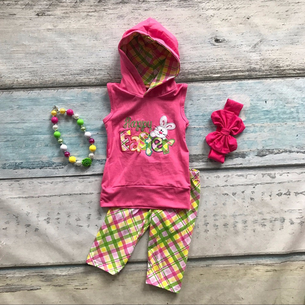 Easter  capris clothes sleeveless boutique hooded with matching Accessories