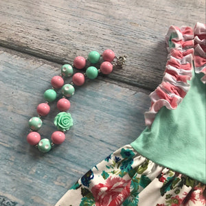 mint floral ruffles with matching accessories set