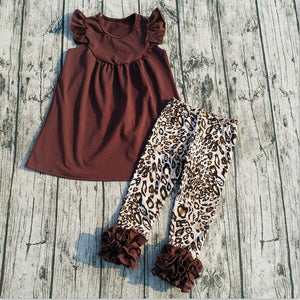 Leopard grain sets Coffee pure color dress hot sale Boutique Leopard capri sets