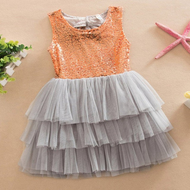 Layered Tutu Dress Kids Sleeveless Hollow Out Back Bow Sequined Dresses Children Clothing